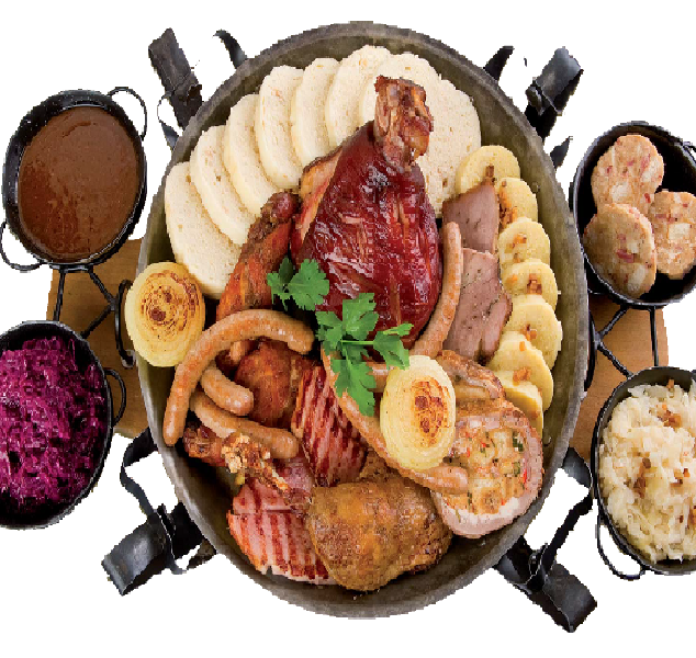 Royal Platter2 600 g pork, rabbit, duck, assortment of homemade dumplings, assortment of sauerkraut, sausages